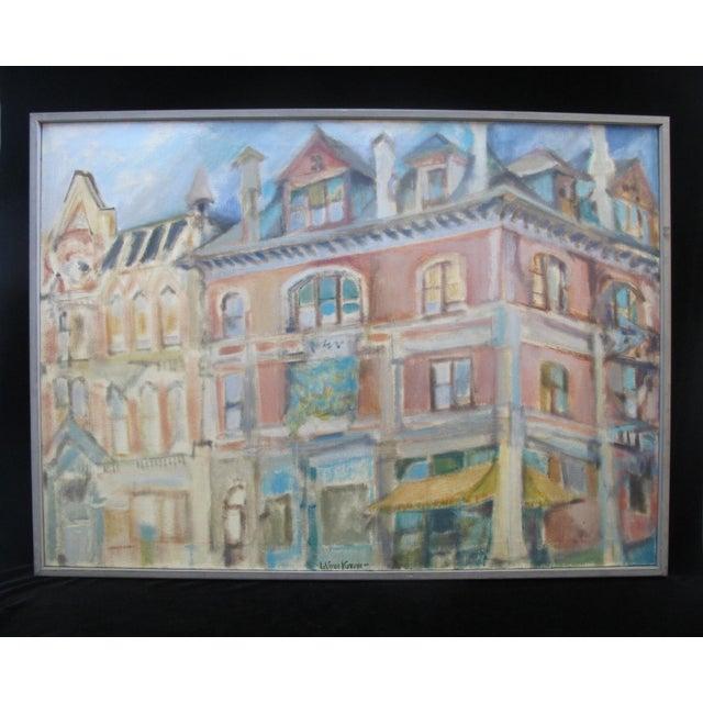 1957 LaVerne Krause Signed Idaho Coeur d'Alene Building Framed Oil Painting For Sale - Image 9 of 9