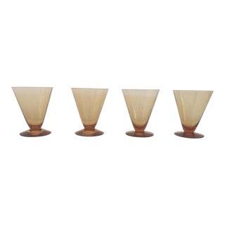 Midcentury Amber Glass Sherbet / Ice Cream / Dessert S/4 For Sale