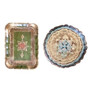 Vintage Florentine Gilt Trays - a Pair