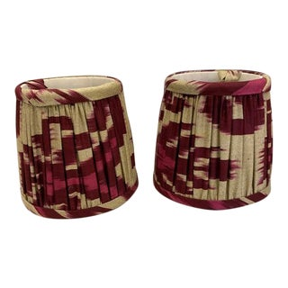 Custom Lamp Shades in Cranberry Ikat Fabric - Pair For Sale