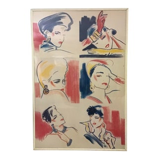 Original Mid Century Modern Fashion Design Wall Art Collage For Sale