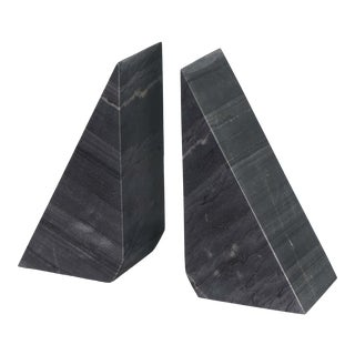 Othello Marble Bookends in Black - A Pair For Sale