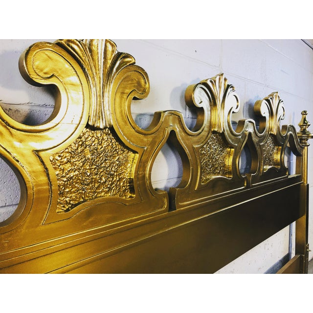 Hollywood Regency Style Gold King Size Headboard For Sale - Image 10 of 12
