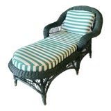 Image of 1970s Vintage Wicker Chaise Lounge For Sale
