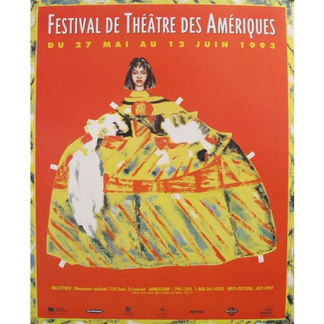 1993 Original Vintage Theatre Poster - Festival De Théâtre Des Amériques For Sale - Image 4 of 4