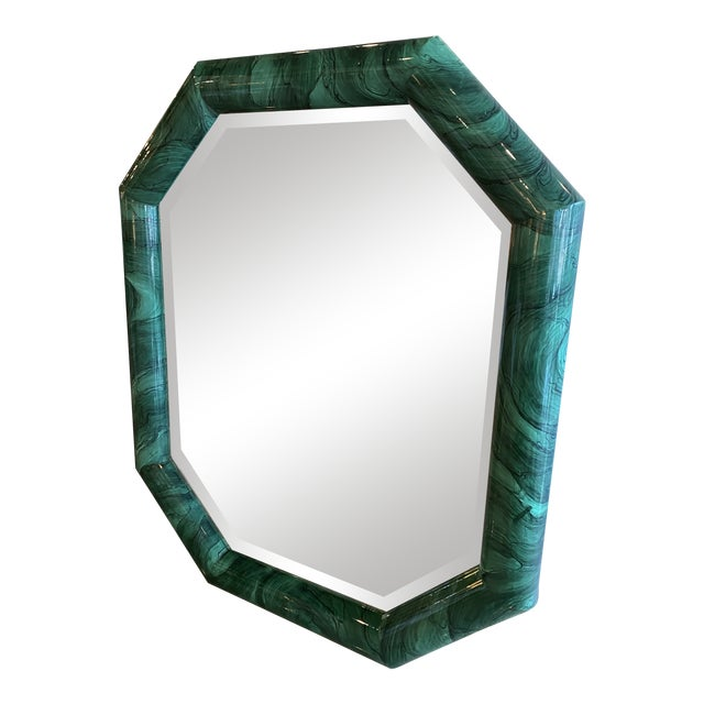 Vintage Large Green Faux Malachite Vertical or Horizontal Octagon Wall Mirror For Sale
