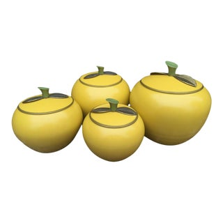 Mid-Century Modern Aluminum Apple Canisters - Set of 4