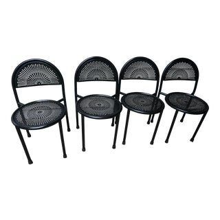 Black Perforated Italian Style Steel Outdoor/Kitchen Chairs - Set of 4 For Sale