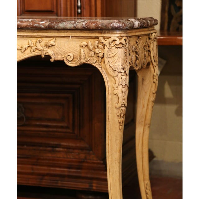 Red 19th Century French Louis XV Carved Oak Serpentine Console Table With Marble Top For Sale - Image 8 of 9
