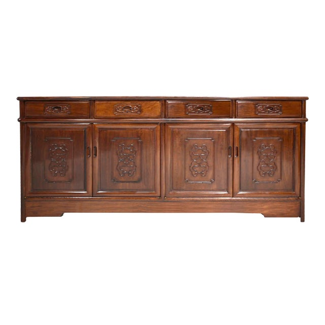 Vintage Rosewood Effect Chinoiserie Credenza Server Cabinet For Sale