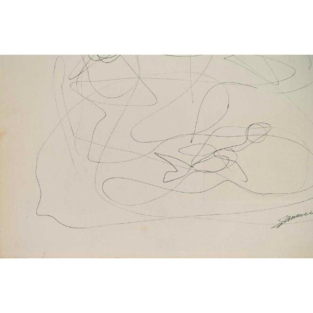 Modern abstract line drawing, artist unknown. From the estate of Lawrence Alloway. Indistinctly signed lower right. Some...