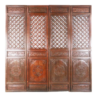 Early 20th Century Antique Chinese Carved Courtyard Doors For Sale