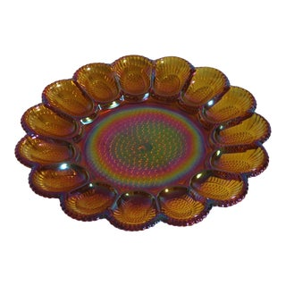 Vintage Marigold Carnival Glass Egg Plate For Sale