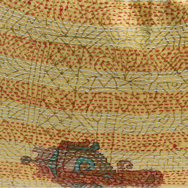 Goldenrod Bengal Silk Kantha Pillow - Image 3 of 4
