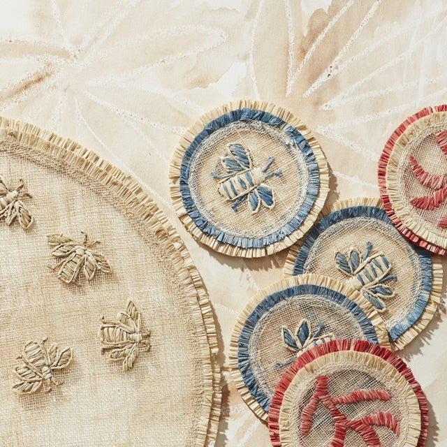 Coral Straw Coasters, Set of 4 For Sale In New York - Image 6 of 8