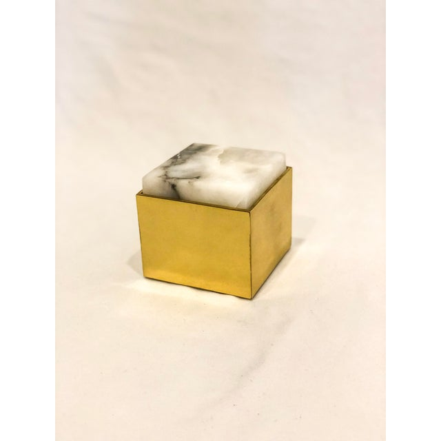Alabaster Topped Brass Box For Sale In Little Rock - Image 6 of 6