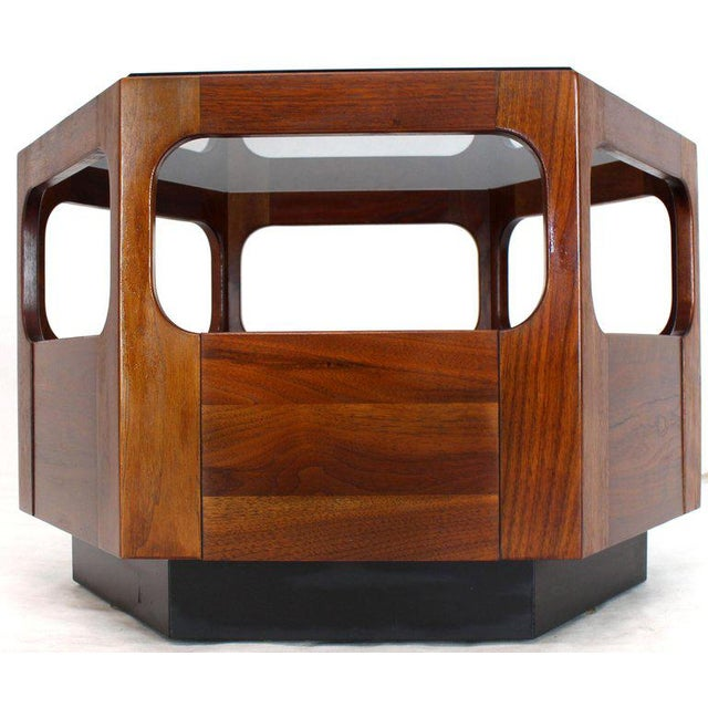 Brown Solid Oiled Walnut Fitted Smoked Glass Top Hexagon Center Side End Table For Sale - Image 8 of 8