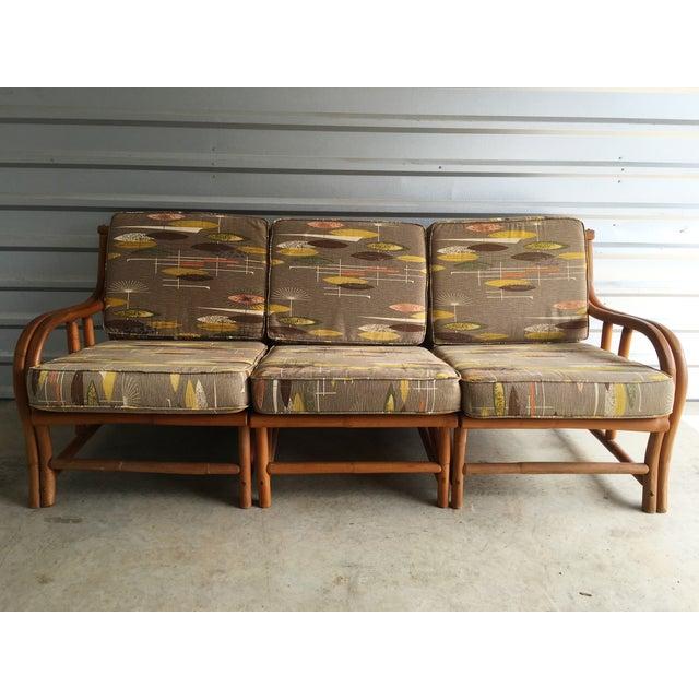 1950s Ritts Tropitan Three Piece Rattan Sofa - Image 2 of 7