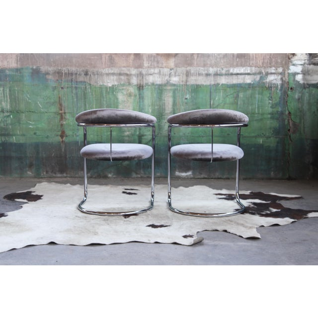 Mid Century Modern Anton Lorenz for Thonet Bent Chrome Cantilever Chairs - a Pair For Sale - Image 10 of 12