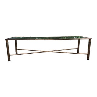 Vintage Brass Bamboo Coffee Table For Sale