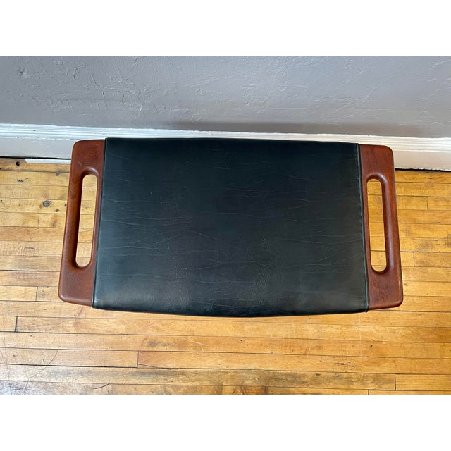 1950s Hans Wegner Piano Stool in Teak and Black Leather For Sale In Boston - Image 6 of 10