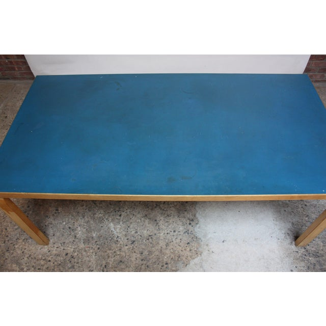 Alvar Aalto Birch Dining or Writing Table with Blue Top and Cabinet - Image 6 of 11
