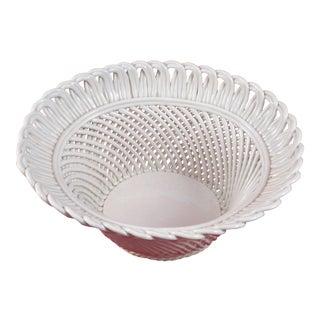 Mid-Century Basket - Woven Pottery - White Glaze - Handmade - Italy