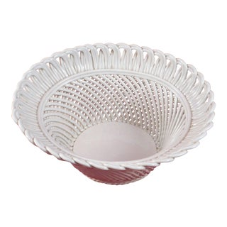 Signed Italy - Pottery - Large Handmade Woven Basket With White Glaze - Numbered For Sale