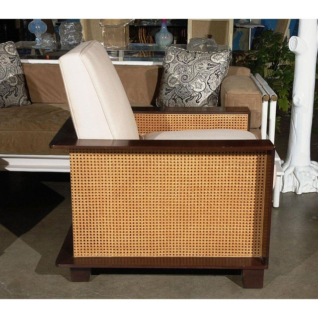 Boho Chic Paul Marra Max Walnut & Cane Club Chair For Sale - Image 3 of 8