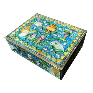 Vintage Chinese Enamel Cloisonne Box For Sale