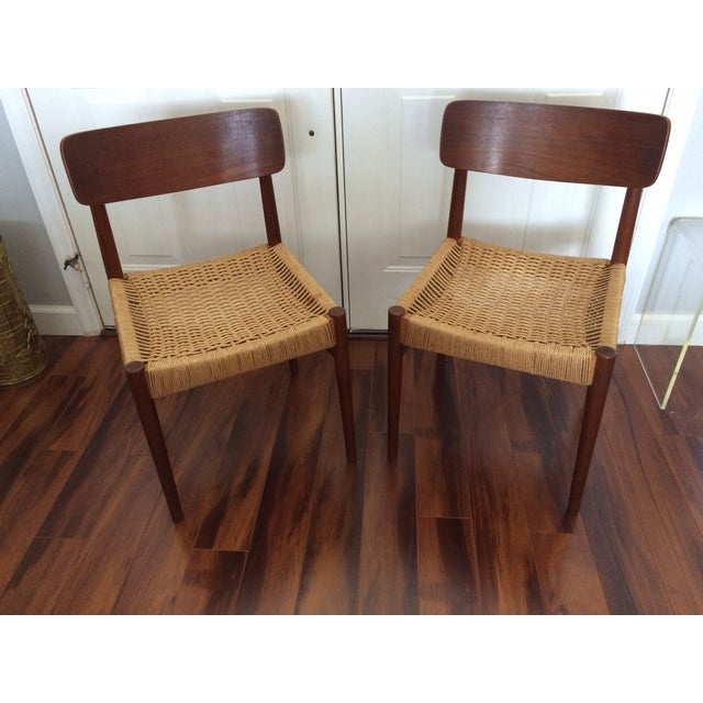 Vintage Danish Modern Rope Seat Chairs - A Pair - Image 2 of 6