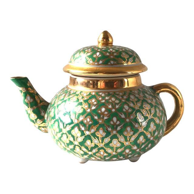 Antique Old Paris Porcelain Green and Gold Teapot For Sale