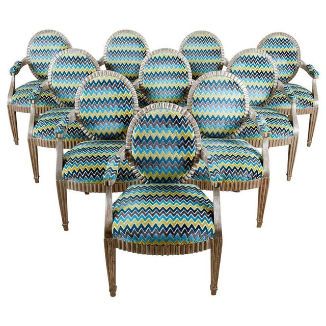 Late 20th Century John Hutton for Donghia Silvered Dining Chairs - Set of 10 For Sale - Image 13 of 13