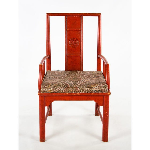 Asian Early 20th Century Vintage Thomasville Chinese Style Red Lacquer and Upholstered Dining Chairs - Set of 6 For Sale - Image 3 of 13