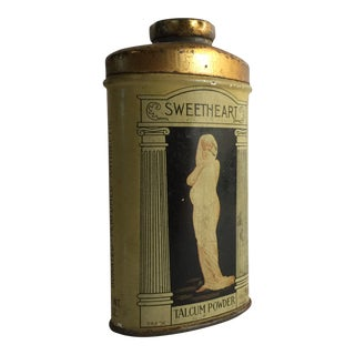 1910s Art Deco Metal Sweetheart Talcum Powder Tin