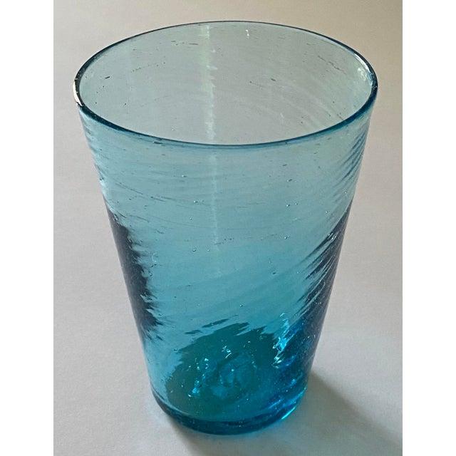 Mid-Century Modern Handblown Aqua Swirl Cocktail Glasses, Set of 6 For Sale - Image 3 of 7