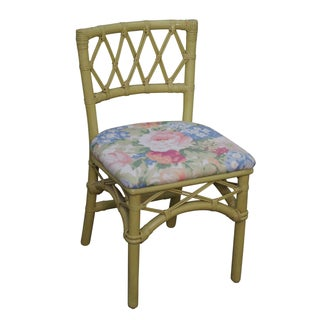 Ficks Reed Vintage Painted Rattan Side Chair For Sale