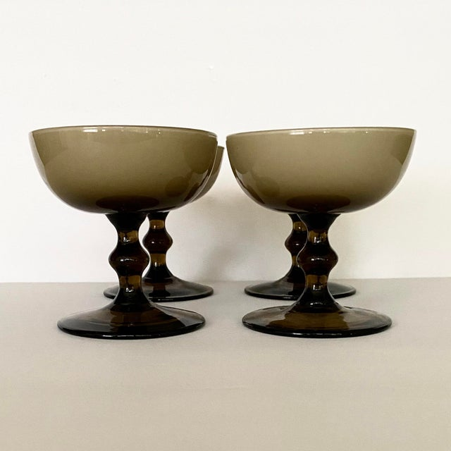 Boho Chic Vintage Carlo Moretti Glass Champagne Coupes-Set of 4 For Sale - Image 3 of 10