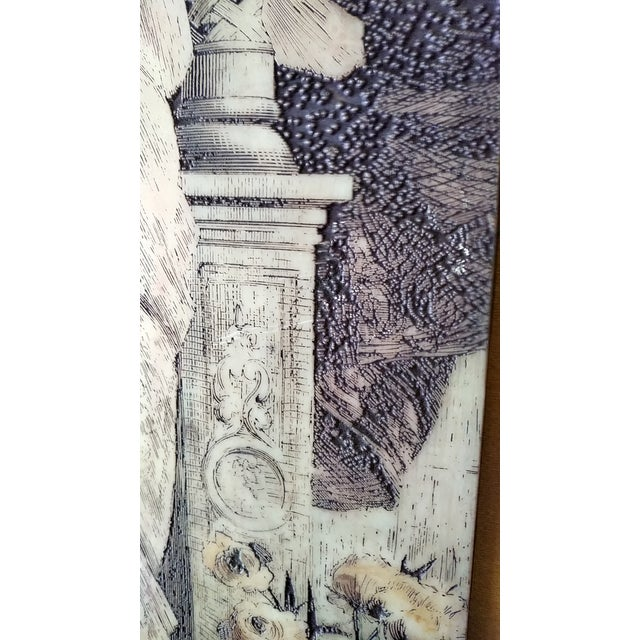 Engraving Vintage Artini Hand Painted Sculpture Engraved Wall Art For Sale - Image 7 of 13