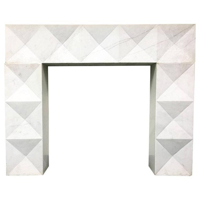 1960s Brutalist Style Mantel in Carrara Marble in Style of De Coene Frères For Sale - Image 10 of 10