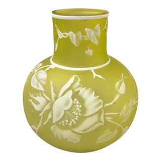 Webb English Citron Yellow Cameo Glass Vase