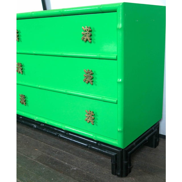 Green 1970s Chinoiserie Ficks Reed Green Faux Bamboo Credenza For Sale - Image 8 of 9