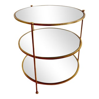 Hollywood Regency Style 3 Tiered Brass & Mirror Table