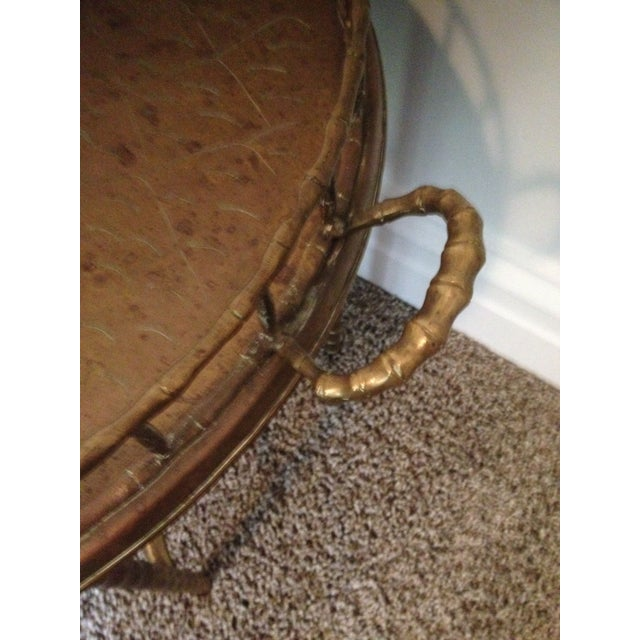 Antique Brass Bamboo Tray Table For Sale In Minneapolis - Image 6 of 7