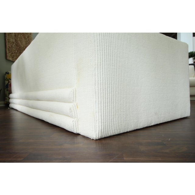 Milo Baughman Inspired 3-Piece White Chenille Modernist Sectional Sofa For Sale - Image 5 of 7