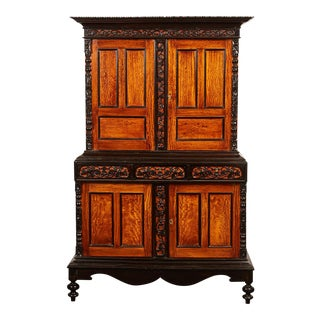 19th Century British Colonial Satin Wood and Ebony Cabinet For Sale