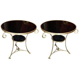 Mid-Century Bronze & Black Marble Gueridon Tables - a Pair