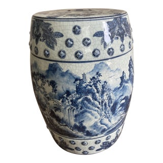 Vintage Blue and White Chinese Garden Stool For Sale