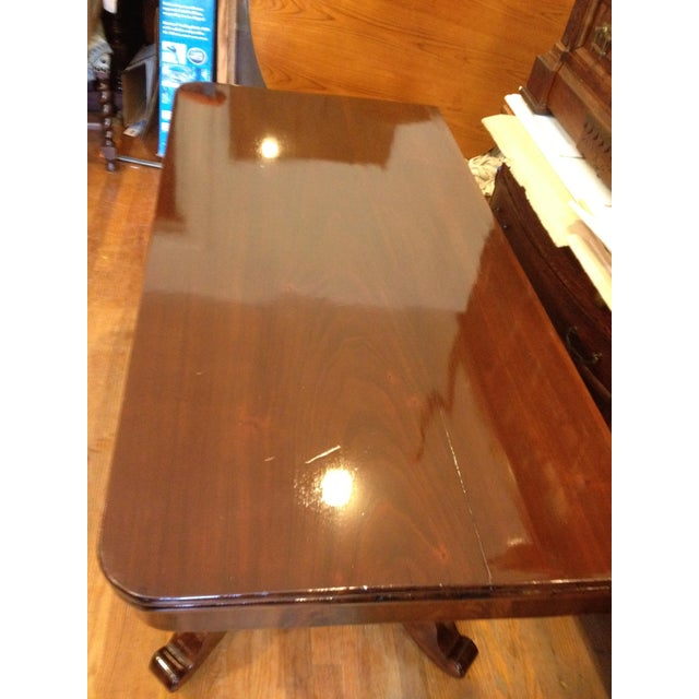 Industrial Empire Burl Mahogany Swivel Top Game Table For Sale - Image 3 of 13