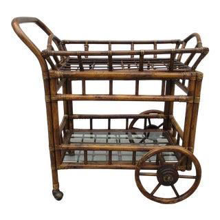 Vintage Bamboo Serving Cart For Sale